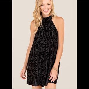 Francesca's 'Davin' High Neck Velvet Burnout Dress